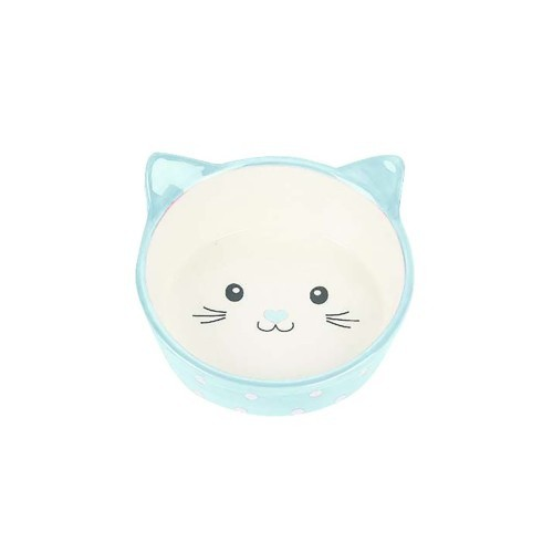 Comedero bebedero de lunares para gatos color Azul