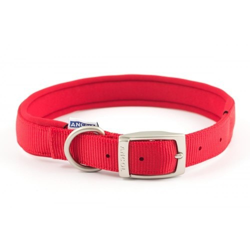 Collar de nylon con neopreno para perros color Rojo
