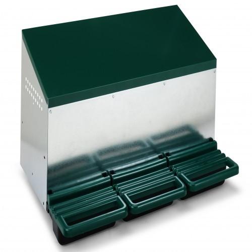 Ponedero 3 departamentos para exterior con fondo de plástico