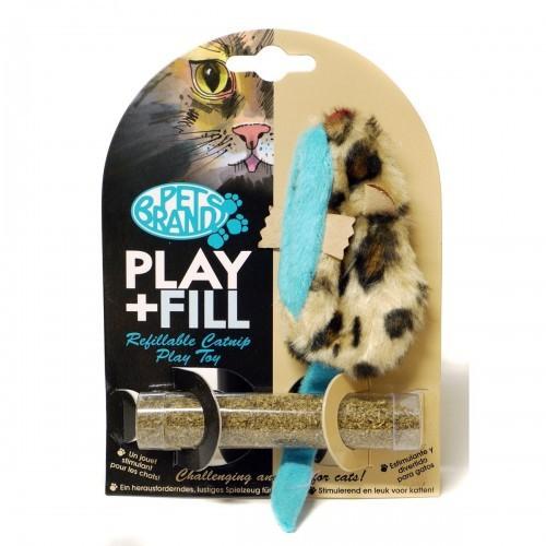 Ratón de peluche Play And Fill relleno de hierba gatuna para gatos