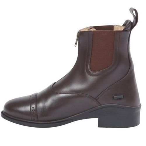 Botas de cuero con cremallera para adultos color Marrón