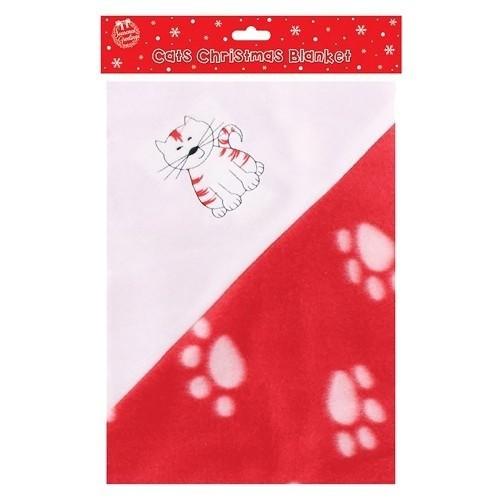 Manta con estampado de huellas para gatos o perros color Rojo y blanco