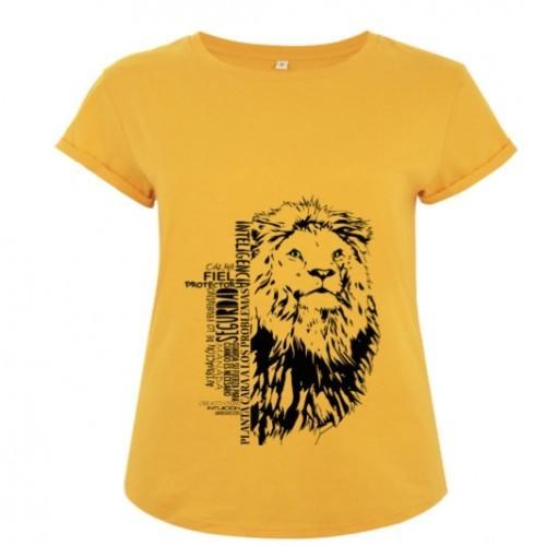 Camiseta manga corta mujer algodón león color Amarillo