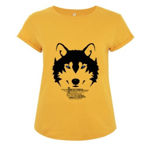 Camiseta manga corta mujer algodón lobo color Amarillo