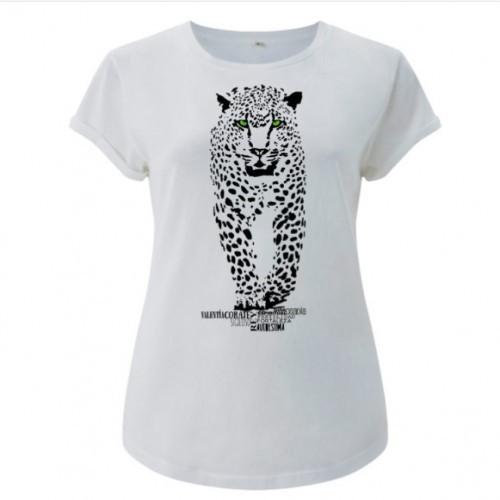 Camiseta manga corta mujer algodón jaguar color Blanco