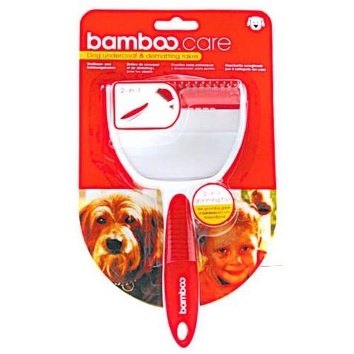 Cepillo Bamboo para capa inferior de perros color Rojo