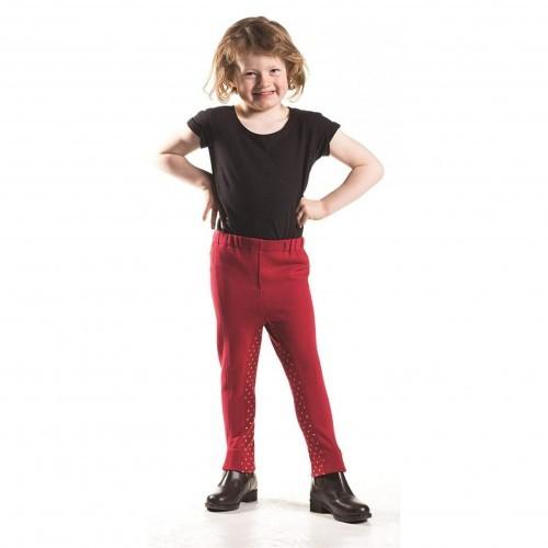 Pantalón de montar infantil color Rojo/Lunares champán