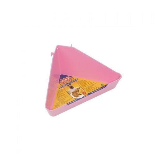 Bandeja sanitaria esquinera para roedores color Rosa