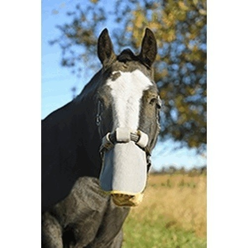 Bozal protector de alivio para caballos color Gris/amarillo