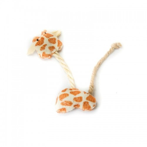 Peluche de Jirafa con cuerda para gatos color Natural