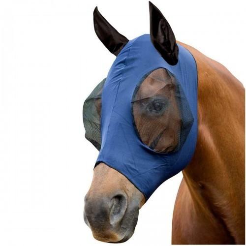 Máscara con redecilla elástica con orejeras para caballos color Marino/Negro