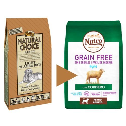Nutro Grain Free Light con cordero para perros