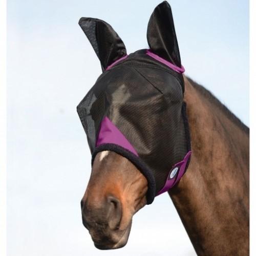 Máscara con redecilla Comfitec con orejeras para caballo color Negro/Púrpura