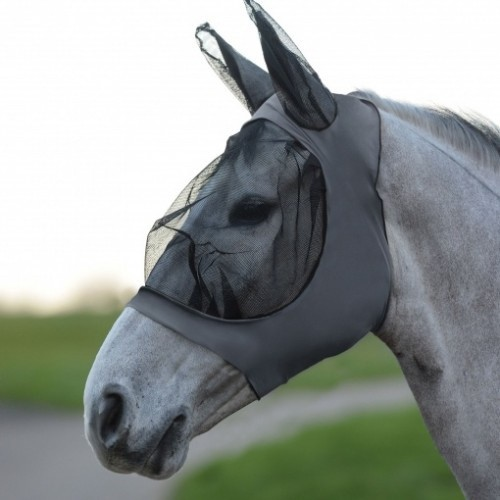 Máscara con redecilla elástica y orejeras para caballos color Gris /Negro