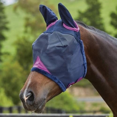 Máscara con redecilla Comfitec con orejeras para caballo color Marino/Púrpura