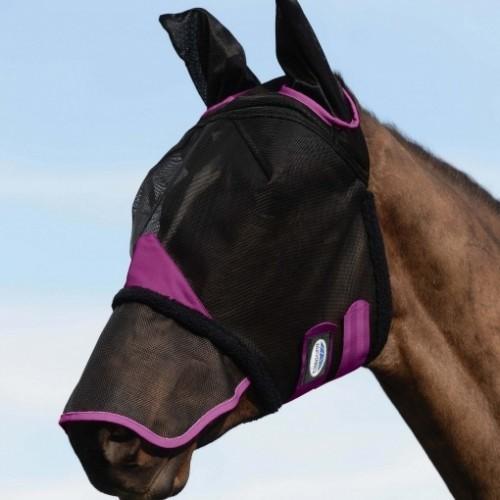 Máscara con redecilla Comfitec con orejeras y cubre hocico color Negro/Púrpura