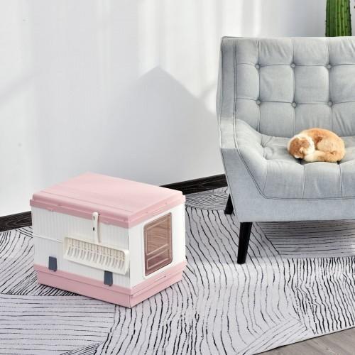Arenero PawHut para gatos plegable portátil color Rosa