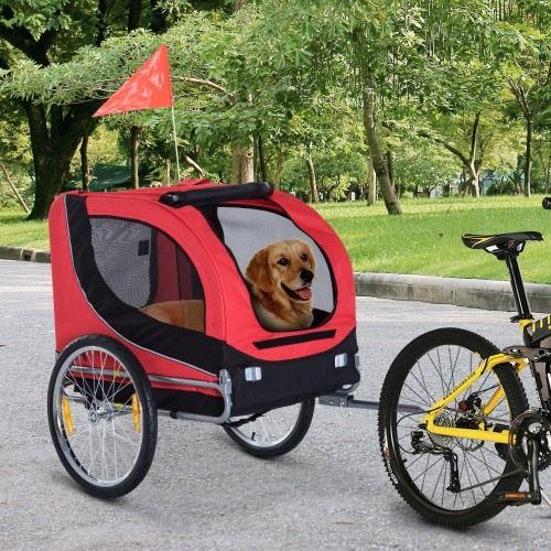 Remolque de bicicleta PawHut para mascota color Rojo/Negro