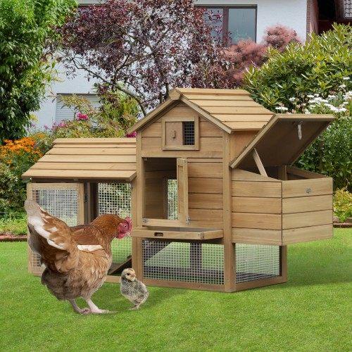 Gallinero PawHut  para jardín con zona exterior e interior de madera