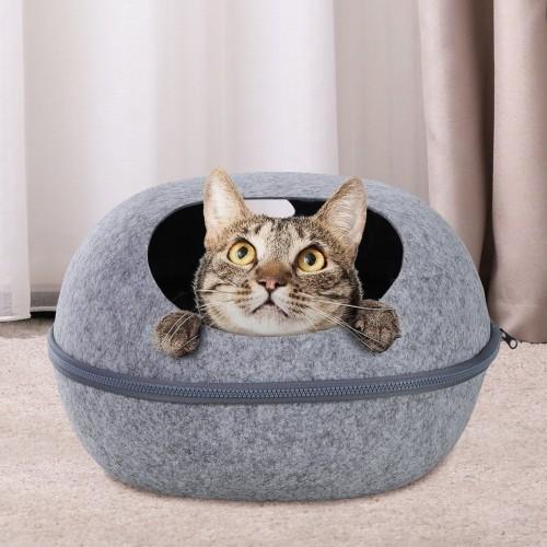 Cueva PawHut forma de cáscara para gatos color Gris