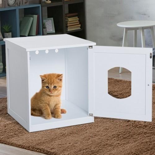 Casa extraíble PawHut para gatos color Blanco
