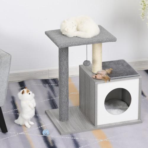 Rascador PawHut de 3 niveles para gatos color Gris