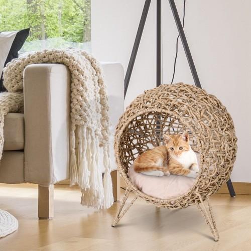 Cama cueva de ratán PawHut para gatos color Madera Natural