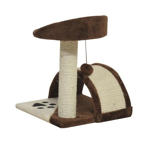 Rascador con poste PawHut para gatos color Marrón