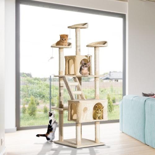 Rascador PawHut para gatos con árbol y poste color Beige