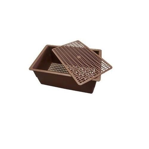 Cubeta de plástico plana para roedores color Marrón