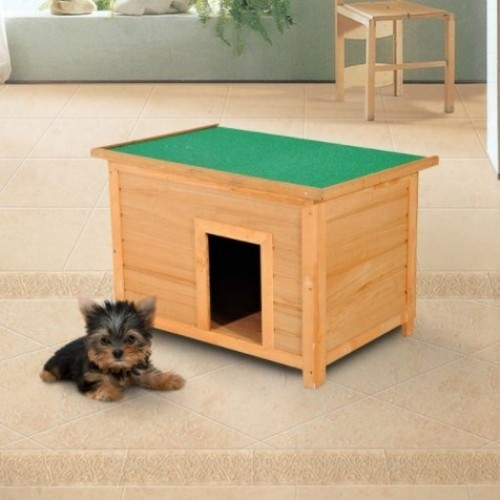 Caseta de madera PawHut para perros color Amarillo