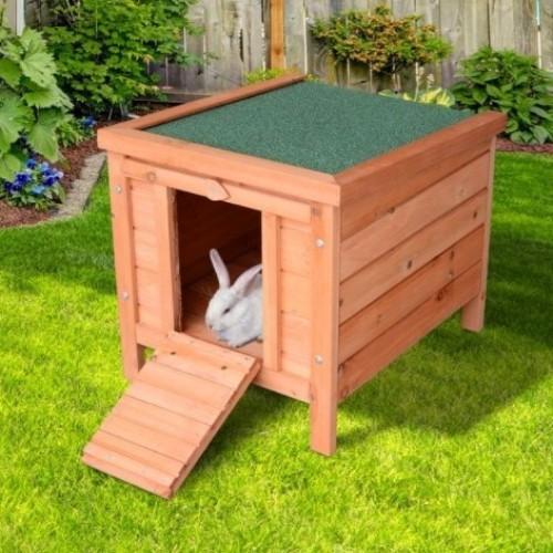 Conejera PawHut para exterior de madera para conejos y cobayas
