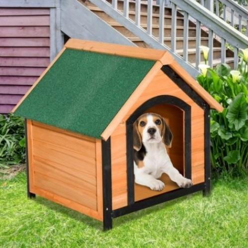 Caseta de perro PawHut impermeable color Madera Natural