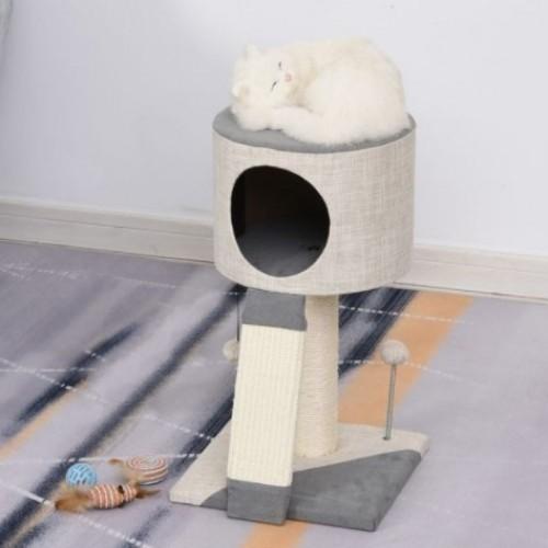 Rascador en torre con bola PawHut para gatos color Gris