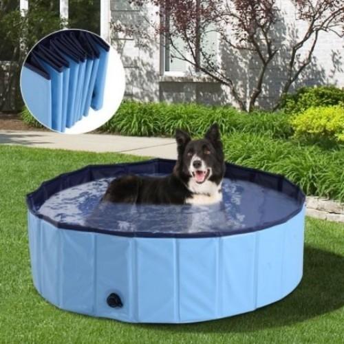 Bañera plegable PawHut para mascotas color Azul Celeste