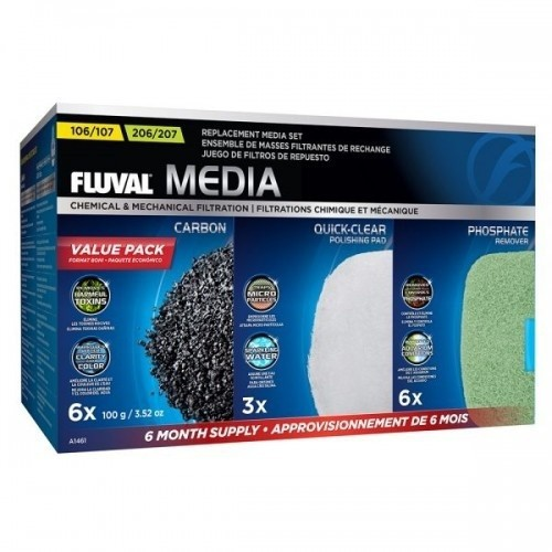 Pack de 6 cargas para el filtro modelo 107/207 de Fluval