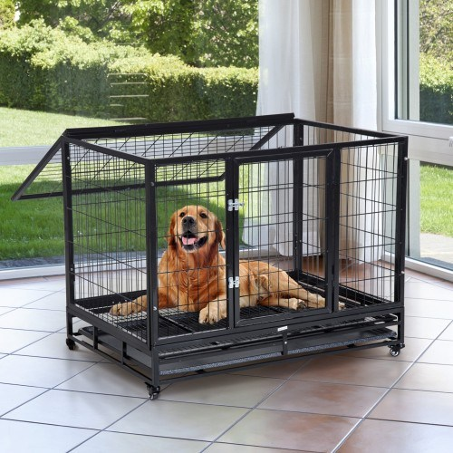 Jaula de metal grande con ruedas PawHut para perros color Negro