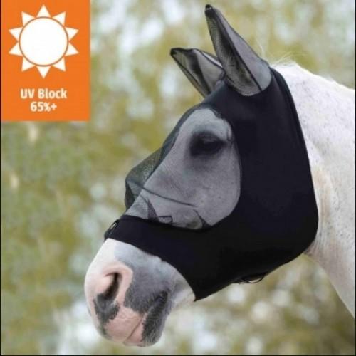 Máscara con redecilla elástica y orejeras para caballos color Negro