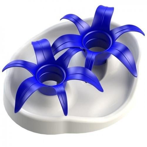 Comedero Akiou Thin Kat Flower para mascotas color Azul