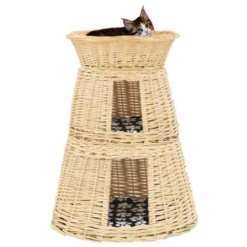 Cesta con cojines de sauce para gatos color Natural