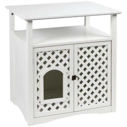 Mueble arenero kerbl para gatos color Blanco