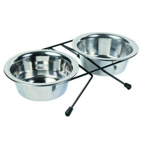 Set de tazon Trixie Eat on Feet para perros color Gris