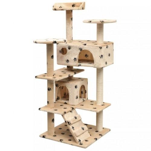 Rascador con poste de sisal para gatos color Beige Huellas