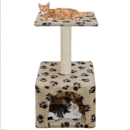 Rascador con poste para gatos color Beige Huellas