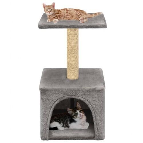 Rascador con poste para gatos color Gris