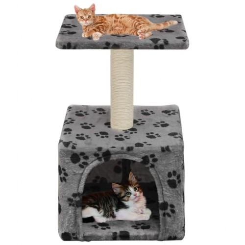 Rascador con poste para gatos color Gris Huellas