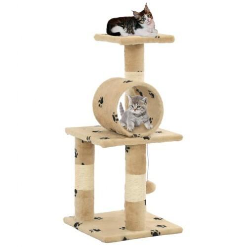 Rascador para gatos con poste color Beige Huellas