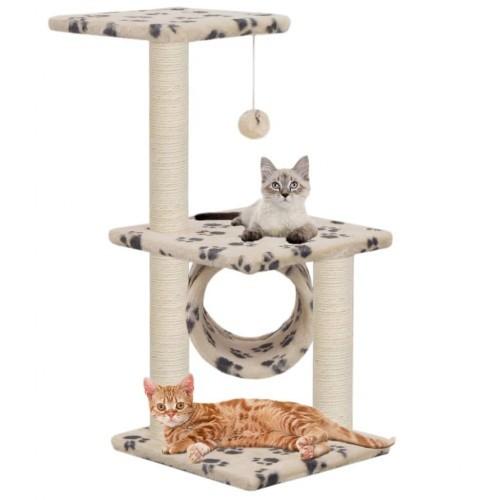 Rascador con postes de sisal para gatos color Beige Huellas