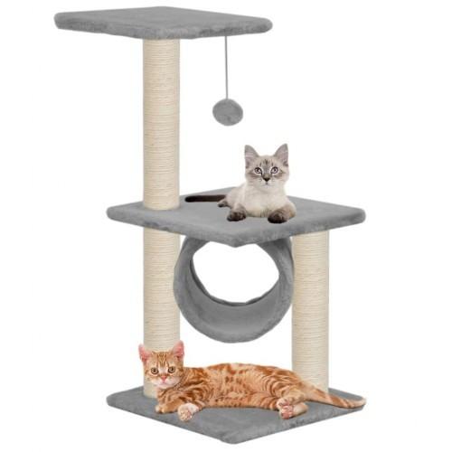 Rascador con postes de sisal para gatos color Gris