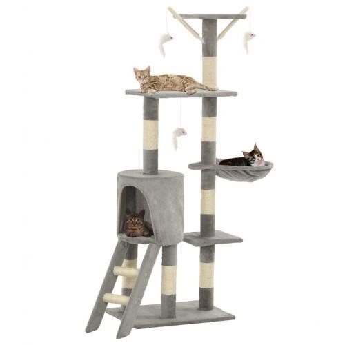 Rascador para gatos con poste de sisal color Gris